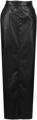 Black Long Faux Leather Skirt With Slit