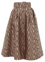 MSGM Snake-print Satin Midi Skirt - Womens - Beige Multi