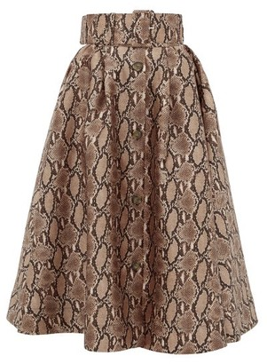 MSGM Snake-print Satin Midi Skirt - Beige Multi