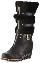 Sorel HelenTM Zip-Front Wedge Boot, Black