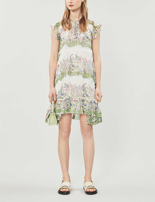 Maje Reinette nature-print silk-blend midi dress