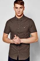 Boohoo Short Sleeve Polka Dot Print Shirt khaki