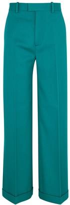 Bottega Veneta Teal wide-leg wool trousers