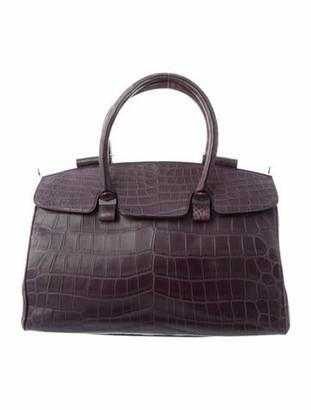 J. Mendel Crocodile Handle Bag Aubergine