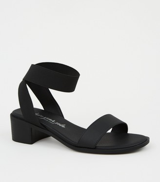 New Look Wide Fit Elastic Strap Block Heel Sandals