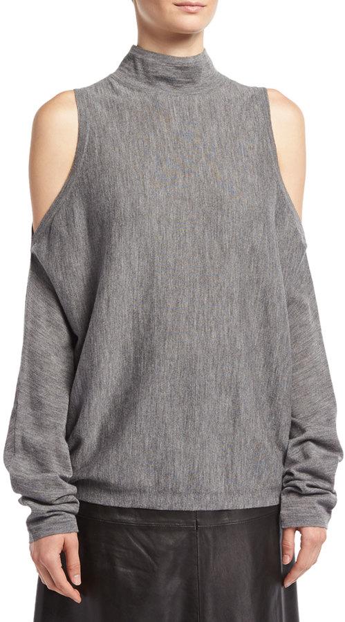 Robert Rodriguez Merino Wool Cold-Shoulder Pullover Sweater, Gray
