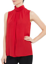 Ellen Tracy Pleated Mockneck Shell