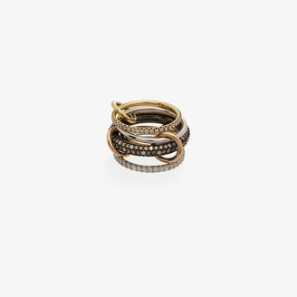 Spinelli Kilcollin 18K yellow and rose gold Leo pave diamond linked rings