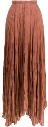 Joseph Pleated Handkerchief-Hem Maxi Skirt