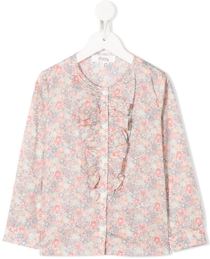 Bonpoint Ruffle Trim Floral-Print Shirt