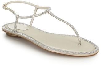 Rene Caovilla Diana Swarovski Crystal-Embellished Leather T-Strap Sandals
