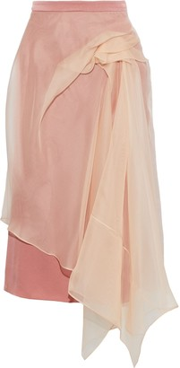 Sies Marjan Nadine Layered Gathered Organza And Satin-crepe Skirt
