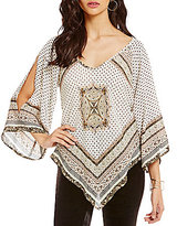 Soulmates Cold-Shoulder Scarf-Print Top