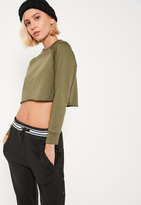 Missguided Petite Khaki Raglan Crop Sweater