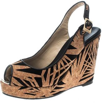 Jimmy Choo Black/Beige Suede & Laser Cut Cork Prova Wedge Sandals Size 38