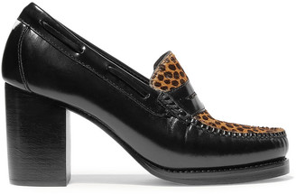 RE/DONE + Weejuns The Winsome Glossed-leather And Leopard-print Calf Hair Pumps