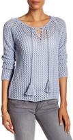 Acrobat Cotton Fishnet Lace-Up Pullover
