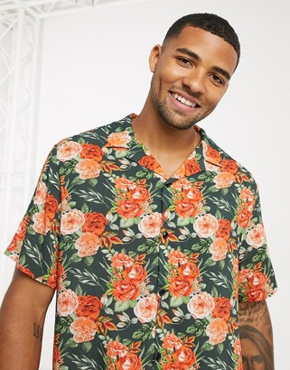 ASOS DESIGN revere relaxed fit viscose shirt in black and red floral print