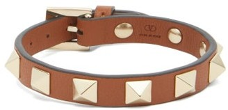 Valentino Rockstud Leather Bracelet - Womens - Tan