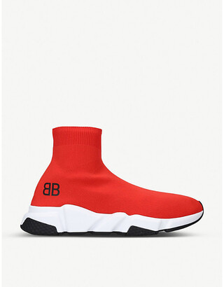 Balenciaga Mens Red, White and Black Capsule BB Speed Stretch-Knitted Trainers, Size: EUR 41 / 7 UK MEN