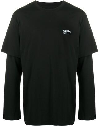 C2H4 layered logo print T-shirt