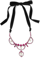 Miu Miu Silver-tone, Velvet, Crystal And Faux Pearl Necklace - Pink