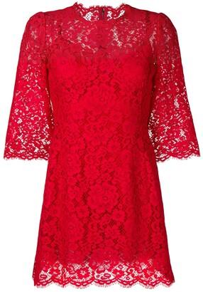 Dolce & Gabbana Floral Lace Mini Dress