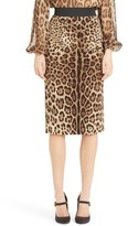 Dolce & Gabbana Women's Leopard Print Stretch Silk Pencil Skirt