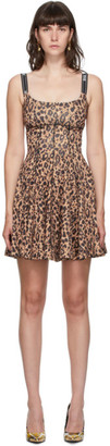 Versace Brown Leopard Pleated Tank Dress