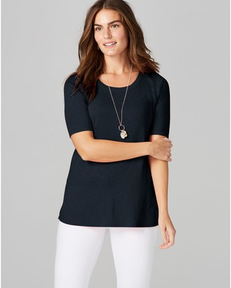 J. Jill J.Jill Pima Cotton Scoop Neck Elbow Sleeve Knit Top