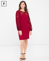White House Black Market Petite Pleated Lace Sleeve Shift Dress