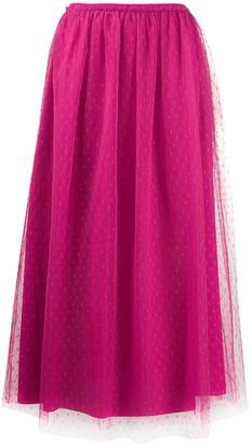 RED Valentino Point D'esprit Pleated Midi Skirt