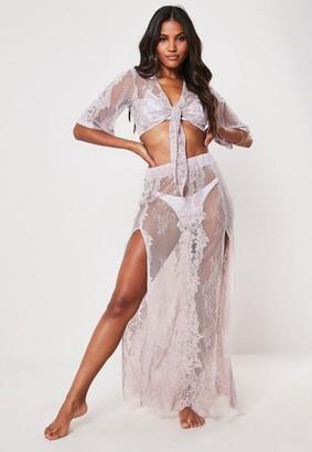 Missguided Premium Mauve Co Ord Lace Maxi Beach Skirt