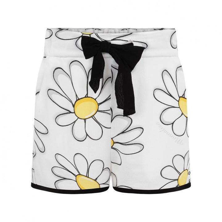 Girls White Daisy Print Shorts