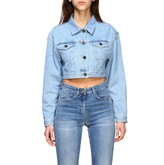 Elisabetta Franchi Cropped Denim Jacket With Big Back Logo