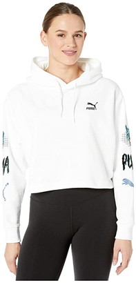 Puma Claw Cropped Hoodie White) Women's Clothing