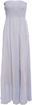 Forte Forte Forte_forte Strapless Shirred Cotton And Silk-blend Voile Maxi Dress