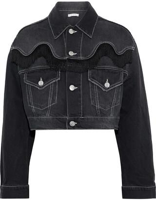 Ganni Rienzi Cropped Fringe-trimmed Denim Jacket
