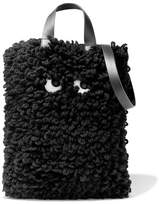 Anya Hindmarch Leather-trimmed Wool Shoulder Bag - Black