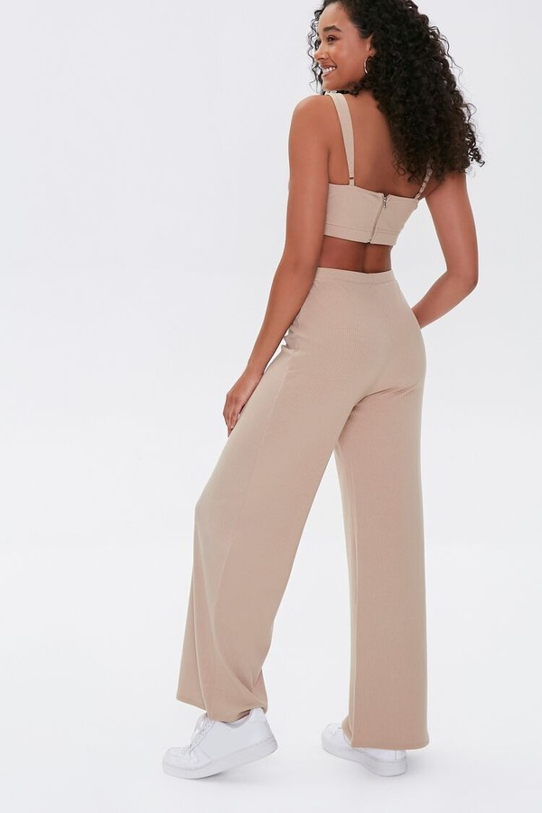 Thumbnail for your product : Forever 21 Crop Top Wide-Leg Pants Set