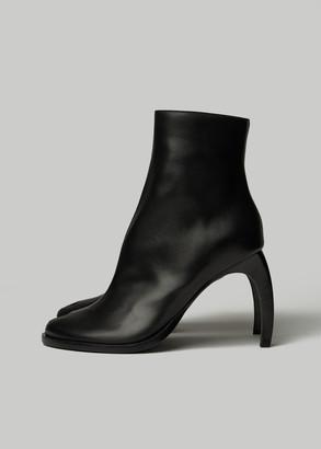 Ann Demeulemeester Women's Peep Toe Banana Stiletto Boot in Black Size 36