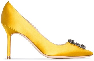 Manolo Blahnik yellow Hangisi 90 crystal buckle silk satin pumps