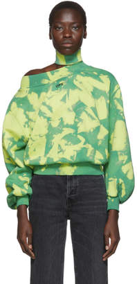Off-White Off White Green Tie-Dye Trashed Sweatshirt