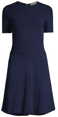 MICHAEL Michael Kors Textured Stripe Fit-&-Flare Dress