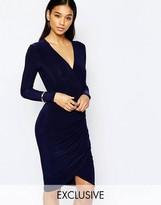 Club L Wrap Front Assymetric Skirt Detail Midi Dress