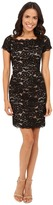 Adrianna Papell Off the Shoulder Lace Sheath Dress with Contrast Lining