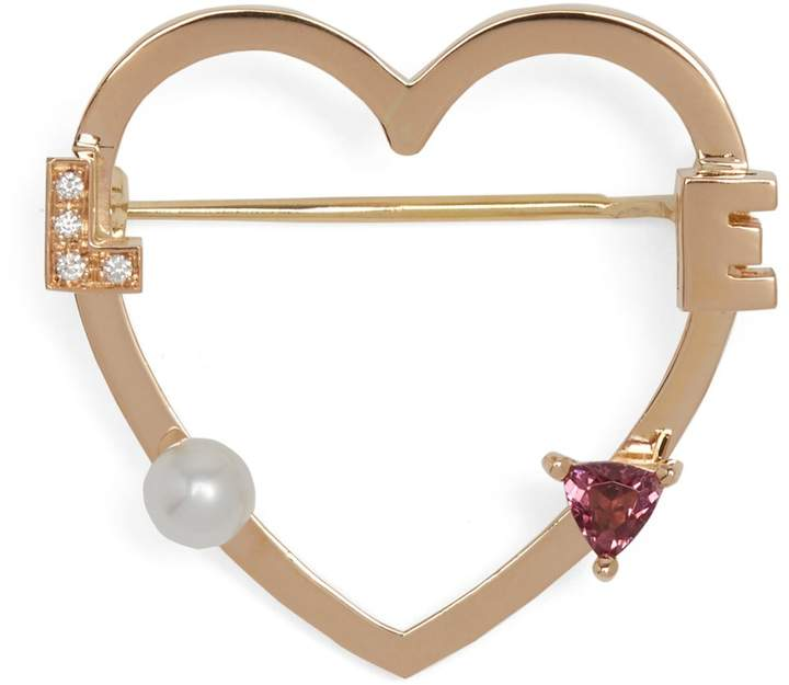 Delfina Delettrez Diamond, rhodolite, pearl & pink-gold brooch