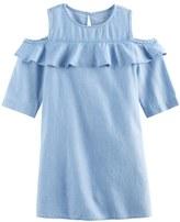 SONOMA Goods for Life Girls 4-8 SONOMA Goods for LifeTM Denim Cold Shoulder Ruffle Dress