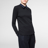 Paul Smith Women's Black Wool-Blend Top With Embroidered Collar