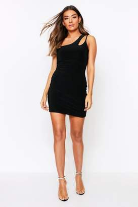 boohoo Double Layer Slinky Asymmetric Cut Out Dress